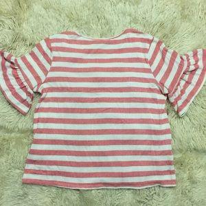Pleione Tops - Pleione knit, striped bell sleeve shirt